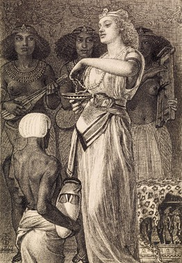 A drawing of Cleopatra the Queen of Egypt crushing pearls into her drink to win a bet against Marc Anthony