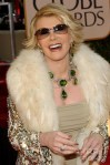 Joan Rivers at 20014 Golden Globes wearing peridot necklace