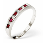 Ruby 0.22ct And Diamond 9K White Gold Ring Item E3757