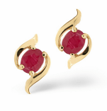 Ruby 0.73CT 9K Yellow Gold Earrings Item B3275