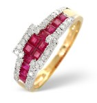 Ring with rubies and diamonds for a 40th anniversary