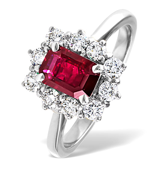 'Emerald-cut' ruby and diamond ring in white gold from TheDiamondStore.co.uk