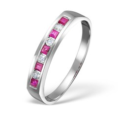 Ruby and diamond half eternity ring for 40th anniversary