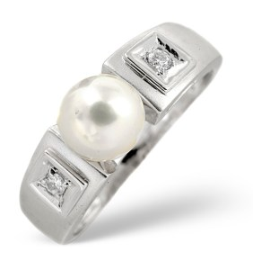 White pearl engagement ring