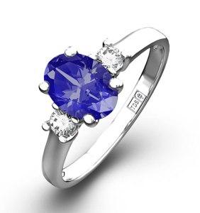 Violet purple tanzanite engagement ring