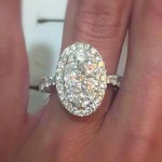 Diamond 2.03CT Oval Side Stone Engagement Ring 18K White Gold