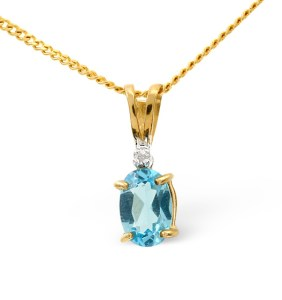0.50CT Blue Topaz and Diamond Pendant