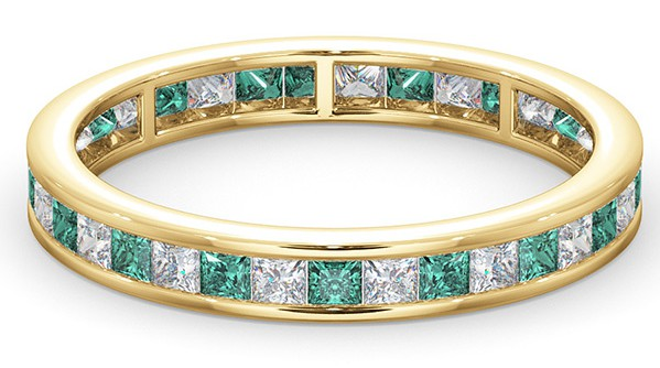 Meaning of Eternity Rings - Emerald and diamond eternity ring in 18K yellow gold