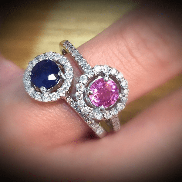 Sapphire engagement rings in pink and blue