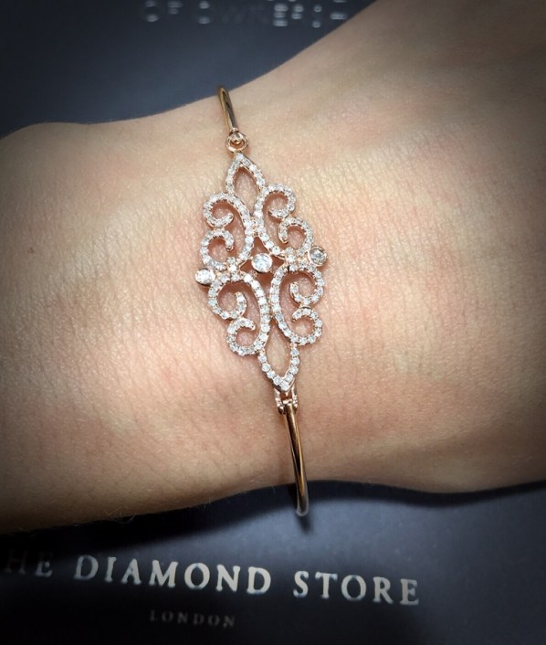 Rose gold diamond vintage bangle for brides at TheDiamondStore.co.uk