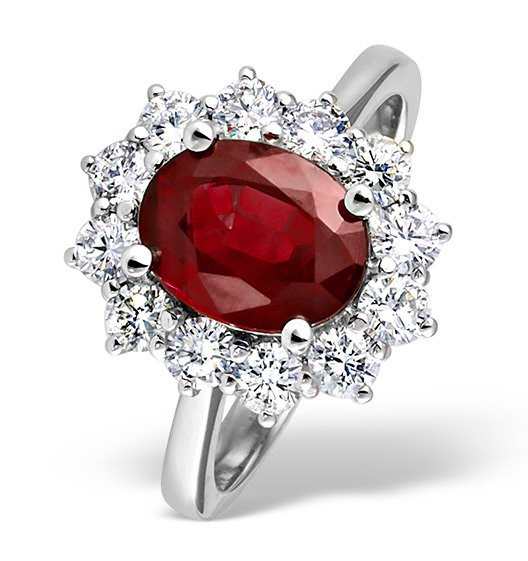 Eva Longoria style ruby engagement ring with diamonds surrounding it