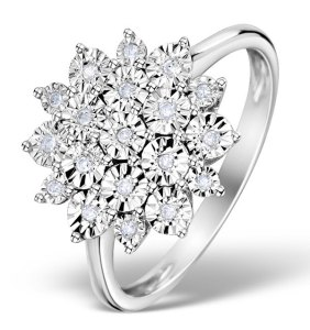 Diamond Large Cluster Ring 0.10ct in 9K White Gold