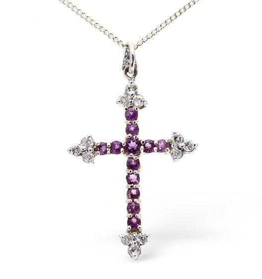 Vintage Style Amethyst and 0.25ct Diamond Cross Pendant Necklace
