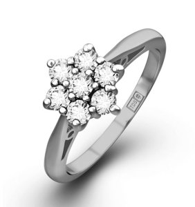 1.00ct Diamond Cluster Ring in G/Vs Quality and 18K White Gold