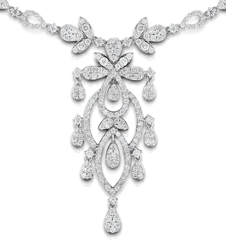 """Vintage Diamond Necklace """"Pyrus"""" collection with 9.00 carats of H/SI Diamonds in 18K White Gold and a Victorian style intricate pattern"""
