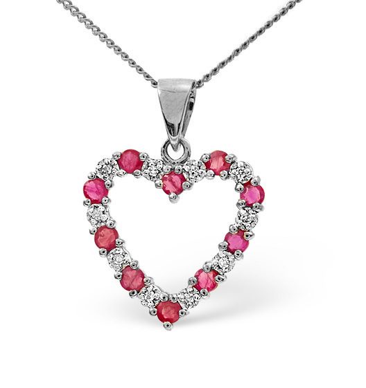 Ruby 0.68CT And Diamond 9K White Gold Pendant
