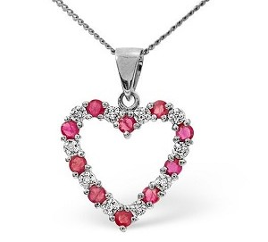 Ruby diamond heart necklace perfect for valentines under 200 pounds at TheDiamondStore UK