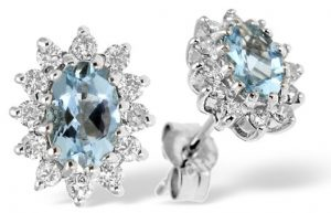 10 Best Aquamarine Jewellery Gifts - Aquamarine 6 x 4mm And Diamond 9K White Gold Earrings