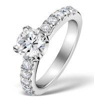 Kaya Scodelario style engagement ring with sidestones
