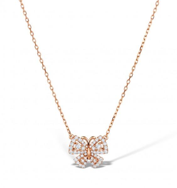 Vivara Collection 0.42ct diamond 9K Rose Gold Butterfly Necklace