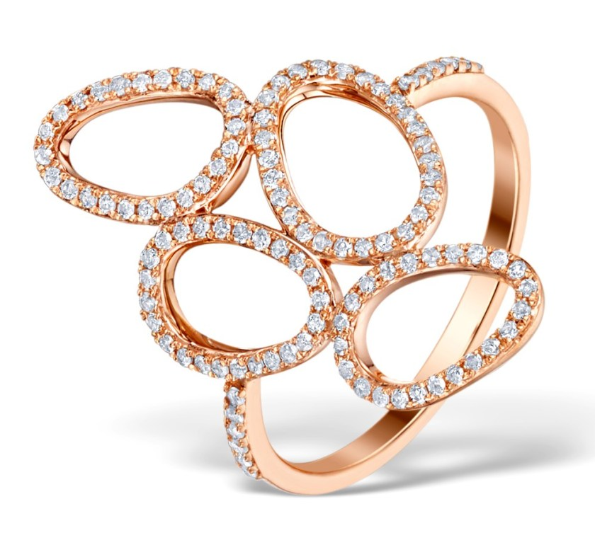 Ring with unusual design of clustered asymmetrical circless in rose gold with diamonds - Vivara Collection by TheDiamondStore UK