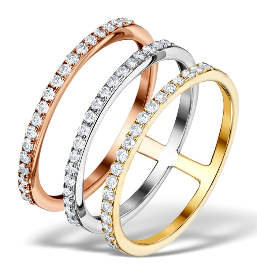 Ring with 3 linked multiple bands in rose gold yellow gold and white gold and with diamonds - Vivara Collection by TheDiamondStore UK