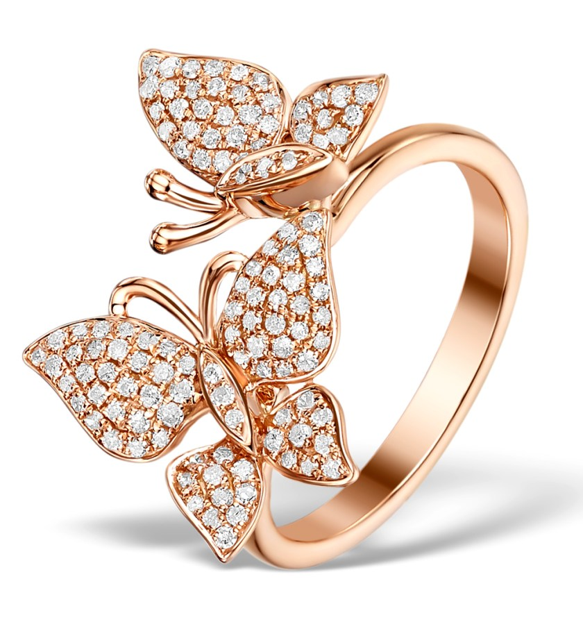 Butterfly ring in rose gold and diamonds - Vivara Collection by TheDiamondStore UK