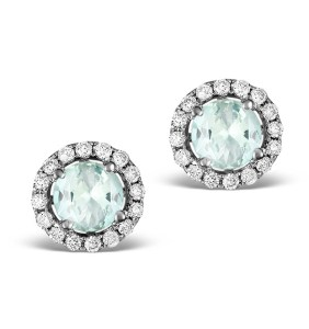 Diamond Halo Aquamarine Earrings 0.50CT - 18K White Gold