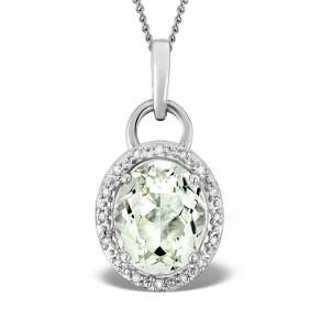 Aquamarine 2.69ct And Diamond 9K White Gold Pendant