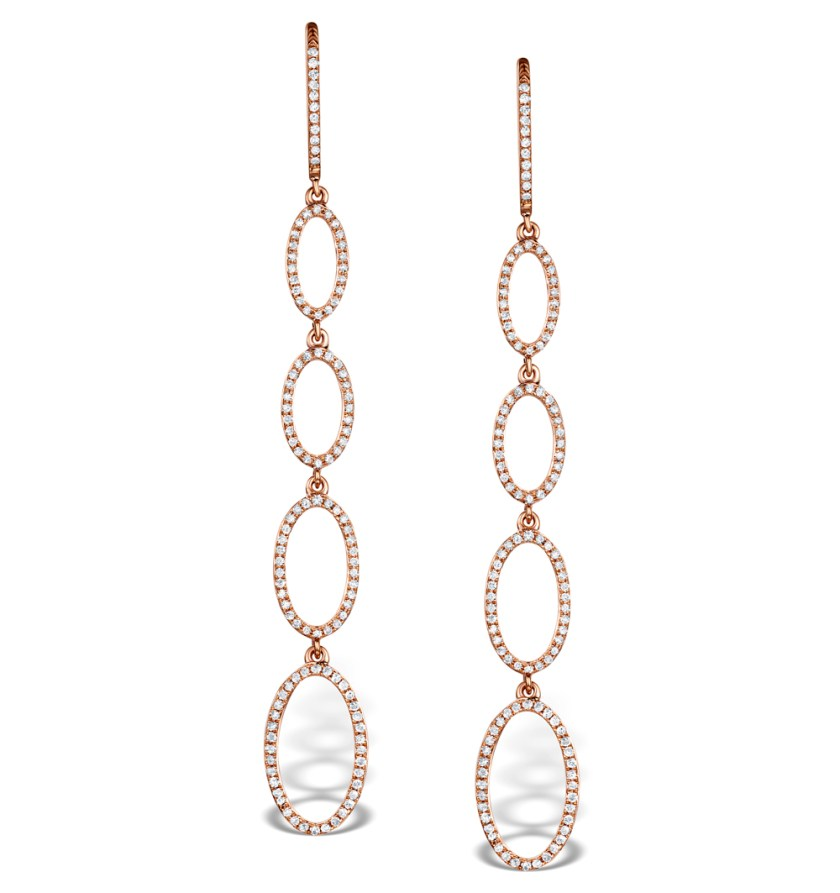 Linked circles drop earrings in rose gold with diamonds - Vivara Collection by TheDiamondStore UK
