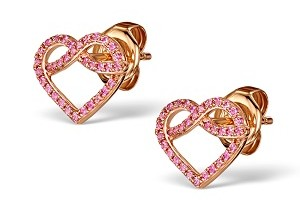 Pink sapphire heart earrings for valentines under 400 pounds at TheDiamondStore UK