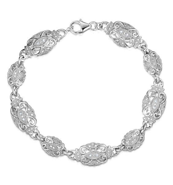 Diamond and Silver Vintage Bracelet