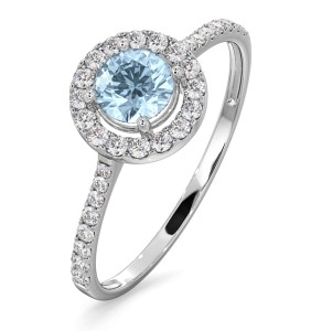 10 Best Aquamarine Jewellery Gifts - Halo Aquamarine 0.50CT And Diamond 18K White Gold Ring