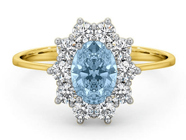 Aquamarine and yellow gold ring with diamonds by TheDiamondStore UK