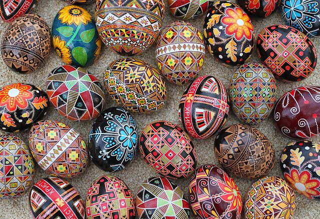 Ukranian pysanky - decorated eggs / Image credit Wikipedia