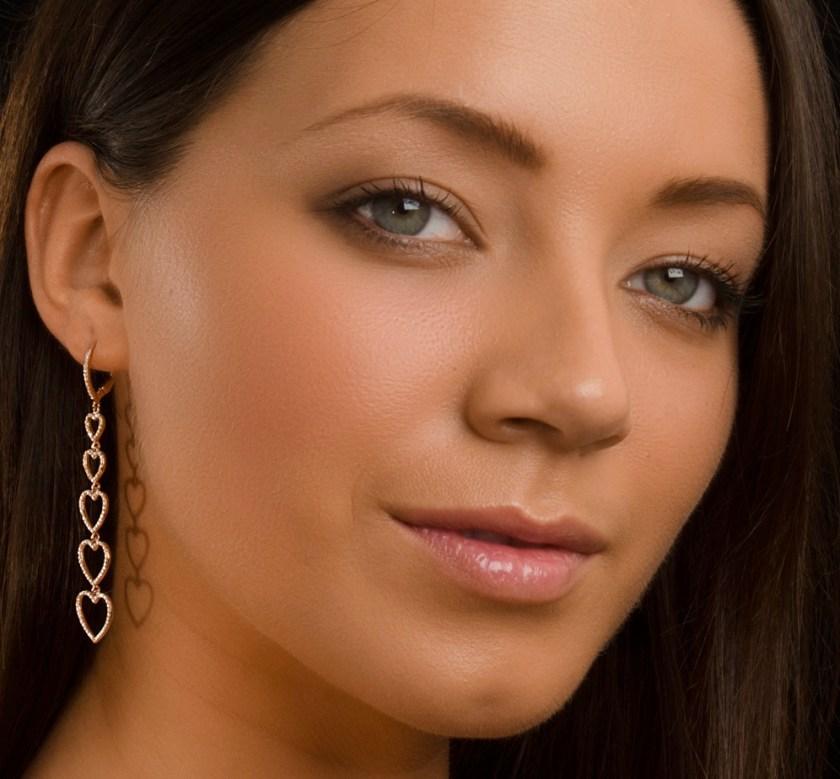 Rose gold and diamond heart drop earrings