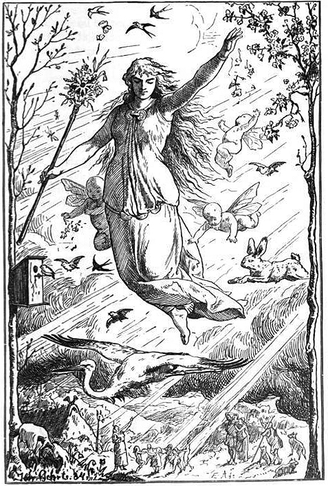 An 1884 depiction of goddess Ostara by German artist Johannes Gehrts / Image credit Wikipedia.org