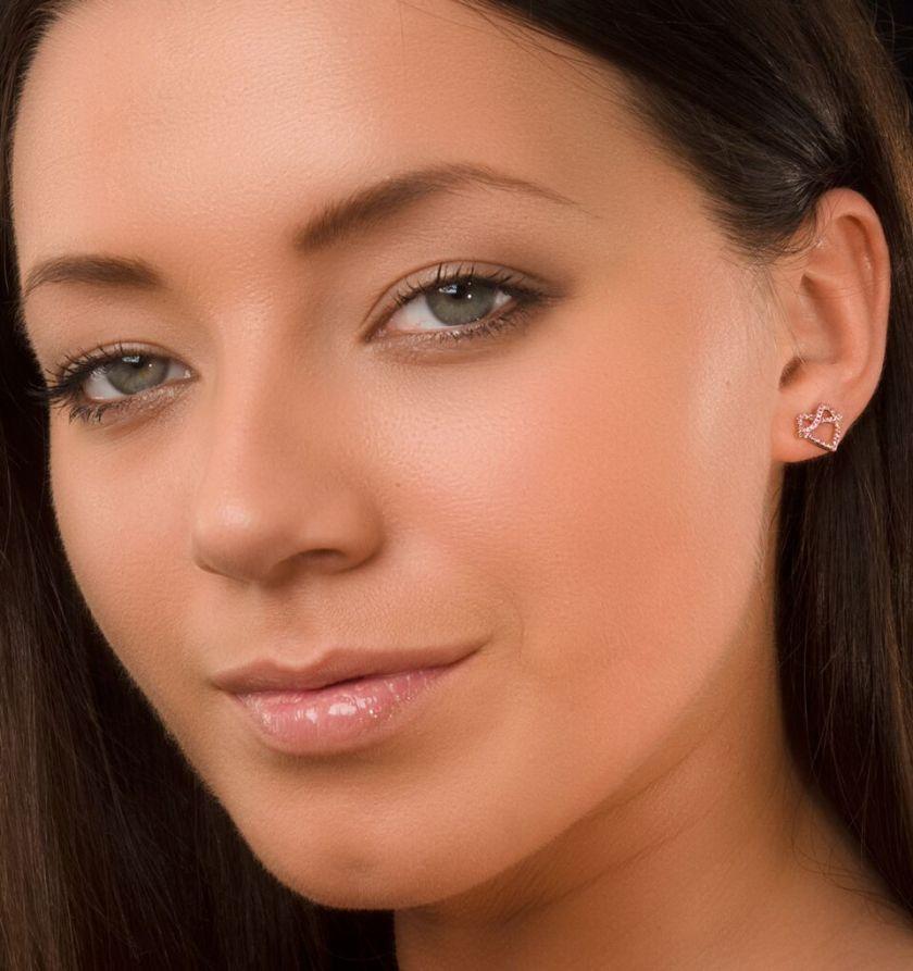Vivara Pink Sapphire Rose Gold Heart Stud Earrings