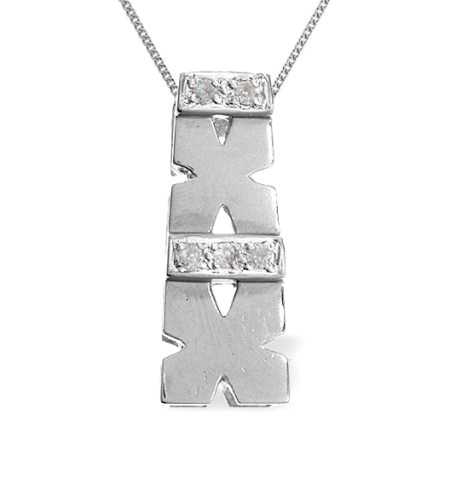 9K WHITE GOLD DIAMOND KISSES PENDANT (0.05CT) - Graduation Gifts