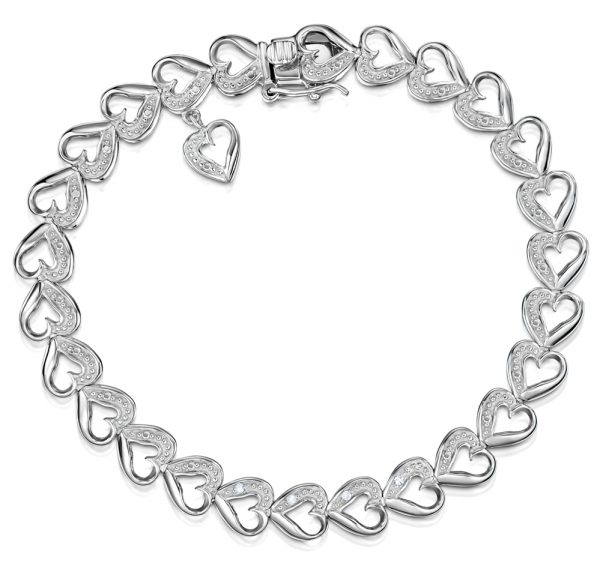 DIAMOND SILVER HEART BRACELET - Graduation Gifts