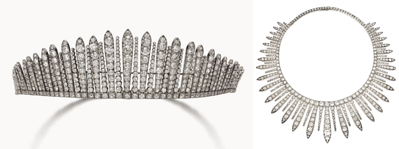 Transformable diamond earrings - The Fringe Tiara, c. 1830. Now in HM The Queen's Collection.