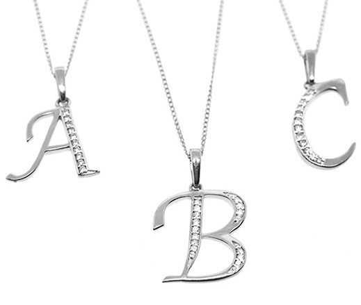 WHITE GOLD DIAMOND INITIAL 'A' PENDANT