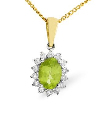peridot diamond necklace
