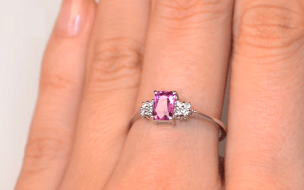 sapphire colours - 9K White Gold DIAMOND PINK SAPPHIRE RING 0.06CT YouTube