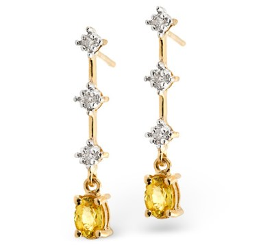 best sapphire jewellery - YELLOW SAPPHIRE 0.52CT AND DIAMOND 9K YELLOW GOLD EARRINGS