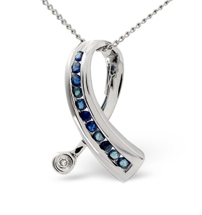 best sapphire jewellery - SAPPHIRE AND 0.02CT DIAMOND RIBBON PENDANT 9K WHITE GOLD