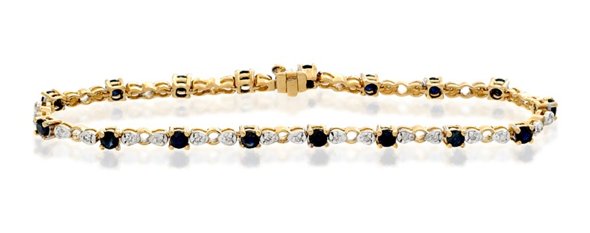 best sapphire jewellery - 9K GOLD DIAMOND AND SAPPHIRE CLAW SET LINK BRACELET