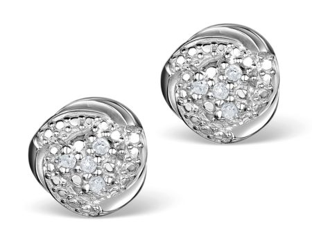 Best earrings - diamond silver cluster stud earrings