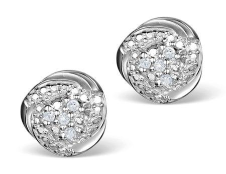 Best earrings - diamond silver cluster stud earrings