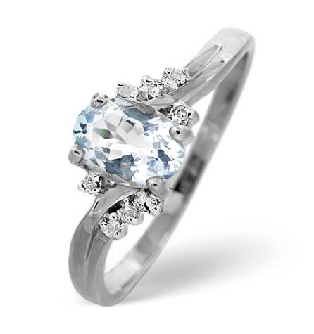 Beautiful aquamarine and diamond ring in white gold by TheDiamondStoreUK under 200 pounds
